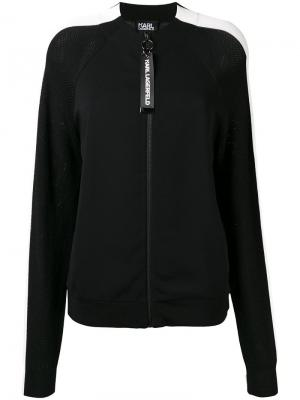 Трикотажная куртка-бомбер Karl Lagerfeld. Цвет: черный