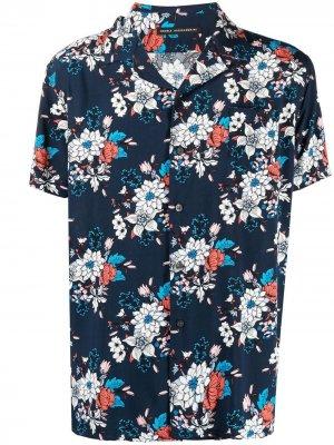 Рубашка с короткими рукавами и цветочным принтом Daniele Alessandrini. Цвет: синий