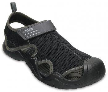 Сандалии мужские CROCS Mens Swiftwater Outlet Sandals Black/Graphite (Черный) арт. 203967. Цвет: черный