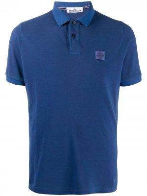 Cotton-pique polo shirt Stone Island. Цвет: синий
