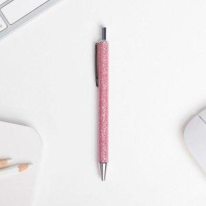 Ручка шариковая,розовая с блёстками, автоматическая Зимнее волшебство