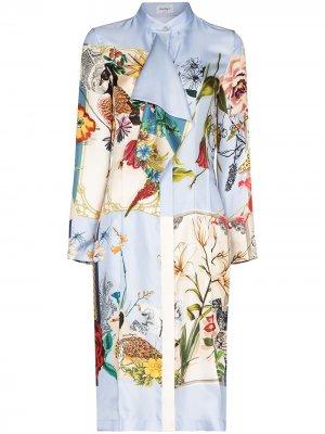 Платье с драпировкой и цветочным принтом Salvatore Ferragamo. Цвет: синий
