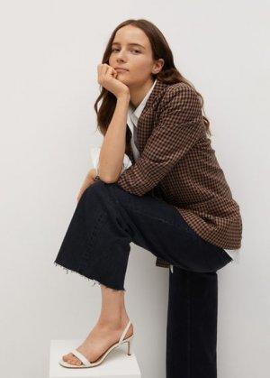 Кожаные сандалии с ремешками - Cora Mango. Цвет: грязно-белый