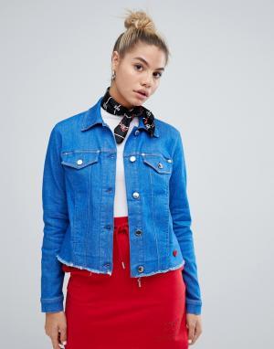 Джинсовая куртка с необработанным краем -Синий Love Moschino