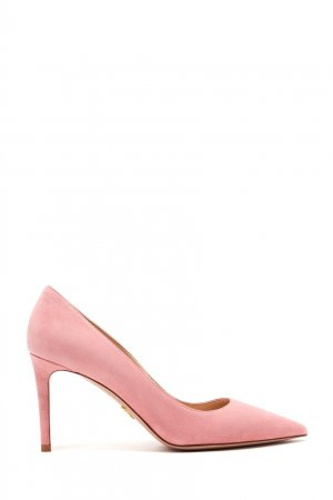 Розовые замшевые лодочки Prada. Цвет: коричневый