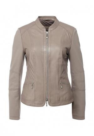 Куртка кожаная Betty Barclay. Цвет: бежевый