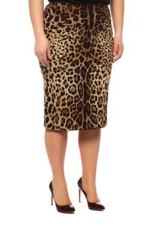 Юбка Dolce&Gabbana. Цвет: коричневый, леопард