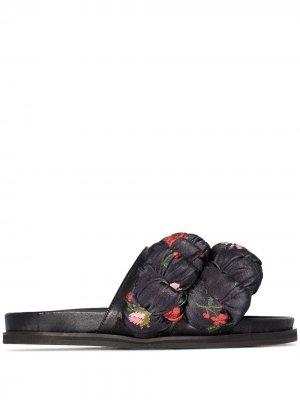 Шлепанцы с цветочным принтом Simone Rocha. Цвет: черный