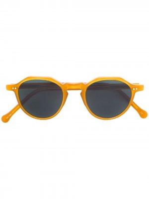 Солнцезащитные очки в круглой оправе Lesca. Цвет: нейтральные цвета
