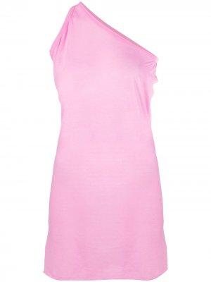 Длинный топ на одно плечо Rick Owens. Цвет: розовый