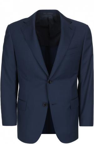 Полуприталенный костюм из смеси шерсти с шелком Andrea Campagna. Цвет: темно-синий