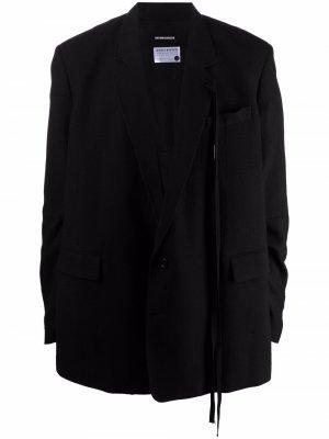 Однобортный пиджак с драпировкой Ann Demeulemeester. Цвет: черный