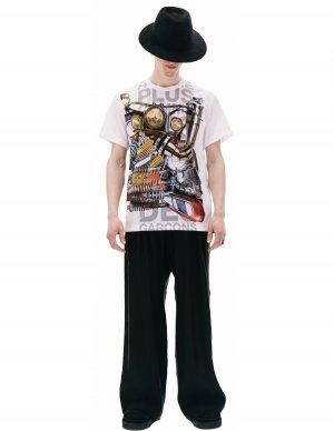 Белая футболка с принтом Comme des Garcons Homme plus
