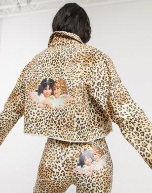 Джинсовая куртка с леопардовым принтом -Мульти Fiorucci