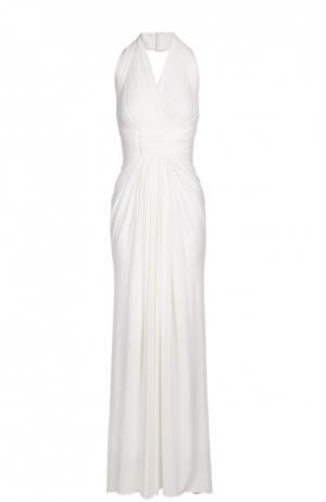 Приталенное платье в пол с открытой спиной Herve L.Leroux. Цвет: белый