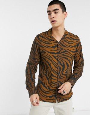Черно-коричневая рубашка с длинными рукавами и тигровым принтом -Черный Criminal Damage