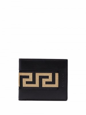 Кошелек с узором Greca Versace. Цвет: черный
