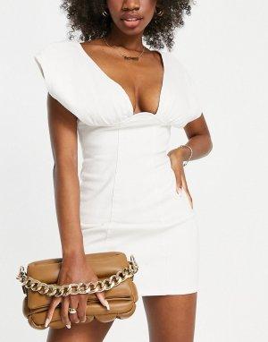 Джинсовое платье мини цвета экрю с глубоким вырезом ASOS LUXE Hourglass-Белый