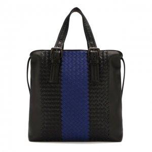 Кожаная сумка-тоут с плетением intrecciato Bottega Veneta. Цвет: синий