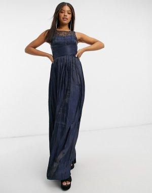 Темно-синее платье макси с запахом и отделкой на кокетке -Темно-синий Little Mistress