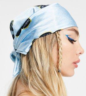 Голубой атласный платок на голову с цветочным принтом COLLUSION
