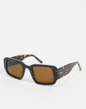 Черепаховые солнцезащитные очки в прямоугольной оправе -Коричневый Spitfire
