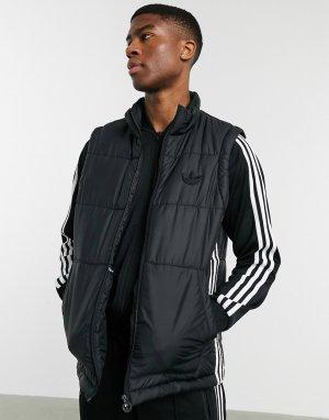 Черный жилет с тремя полосками -Черный цвет adidas Originals