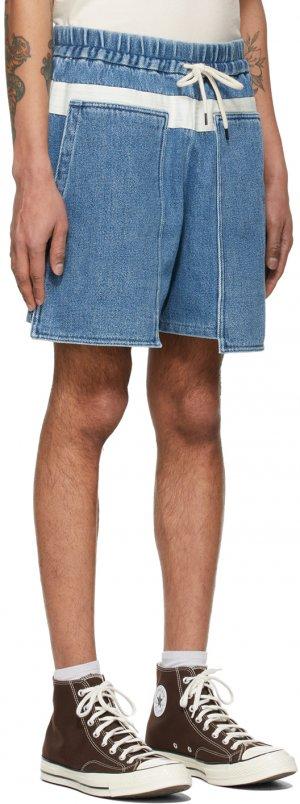 Blue Denim Loose Baker Shorts Kuro. Цвет: faded indig