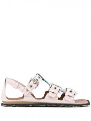 Сандалии из ремешков с контрастной планкой Miu. Цвет: розовый
