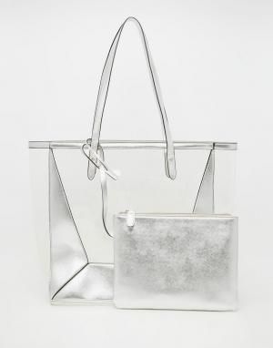 Прозрачная пляжная сумка со съемным клатчем ASOS. Цвет: серебряный