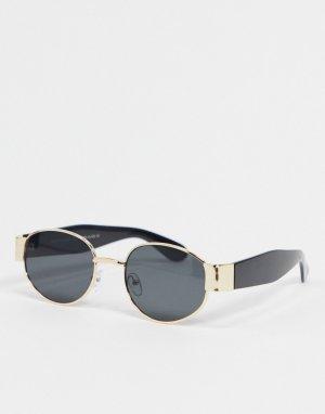 Черные круглые солнцезащитные очки -Черный SVNX
