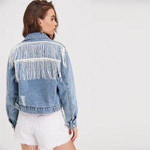 С бахромой Повседневный Джинсовые куртки и пальто SHEIN. Цвет: легко-синий