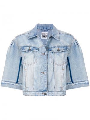 Укороченная джинсовая куртка свободного кроя с короткими рукавами Twin-Set. Цвет: синий