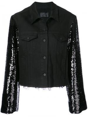 Джинсовая куртка с пайетками Rta. Цвет: черный