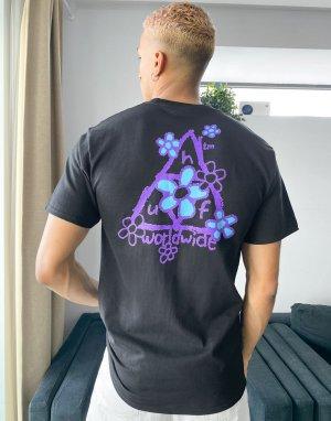 Черная футболка с тройным треугольником и принтом маргариток -Черный HUF