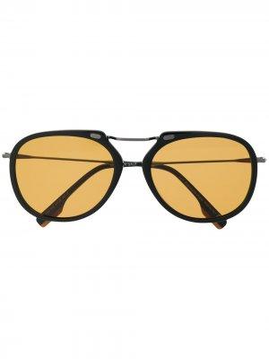 Солнцезащитные очки в массивной оправе Ermenegildo Zegna. Цвет: черный