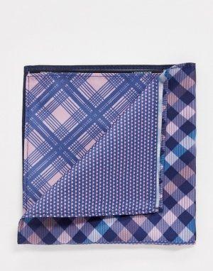 Комбинированный платок для нагрудного кармана темно-синего и розового цвета в клетку -Темно-синий ASOS DESIGN