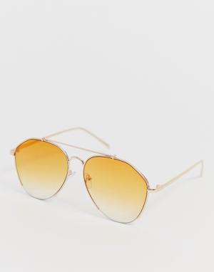 Солнцезащитные очки‑авиаторы в золотистой оправе -Золотой AJ Morgan