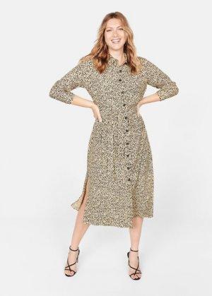 Длинное платье-рубашка - Leopard5 Mango. Цвет: бежевый