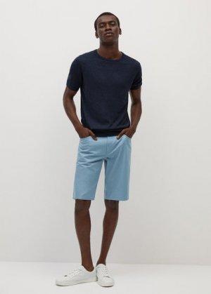 Хлопковые бермуды с карманами - Roller7 Mango. Цвет: небесно-голубой