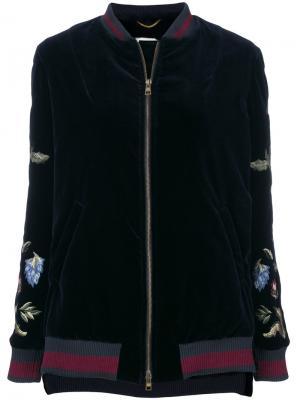 Куртка-бомбер с вышивкой Bazar Deluxe. Цвет: синий