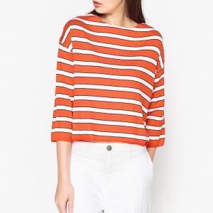 Пуловер объемный в полоску из тонкого трикотажа OCEANY HARRIS WILSON. Цвет: оранжевый
