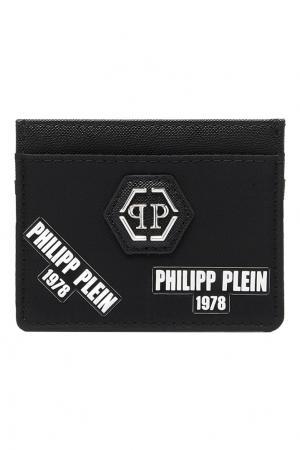 Черная визитница с логотипами Philipp Plein. Цвет: черный