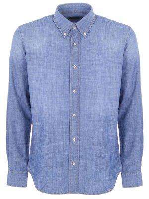 Рубашка хлопковая Baldessarini. Цвет: голубой