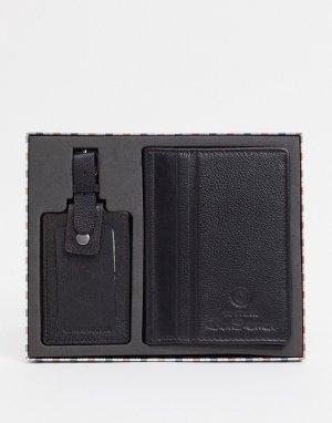 Набор из обложки для паспорта и багажной бирки -Черный цвет Ben Sherman