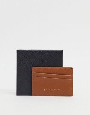 Коричневая кредитница с диагональным дизайном Smith & Canova-Светло-коричневый And Canova