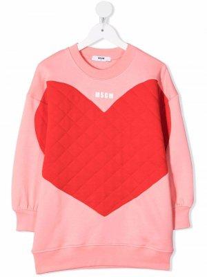 Heart-print crew neck sweater dress MSGM Kids. Цвет: розовый