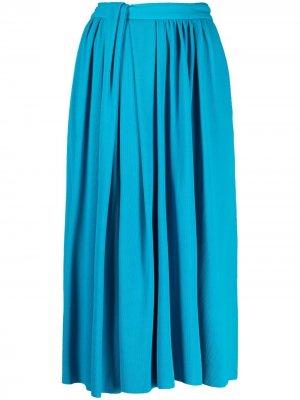 Плиссированная юбка миди Balenciaga. Цвет: синий