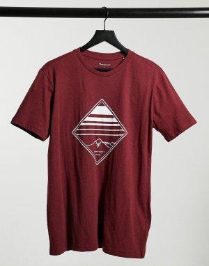 Бордовая футболка из органического хлопка с логотипом в форме ромба -Красный Knowledge Cotton Apparel
