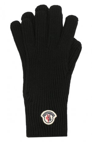 Шерстяные перчатки Moncler. Цвет: черный